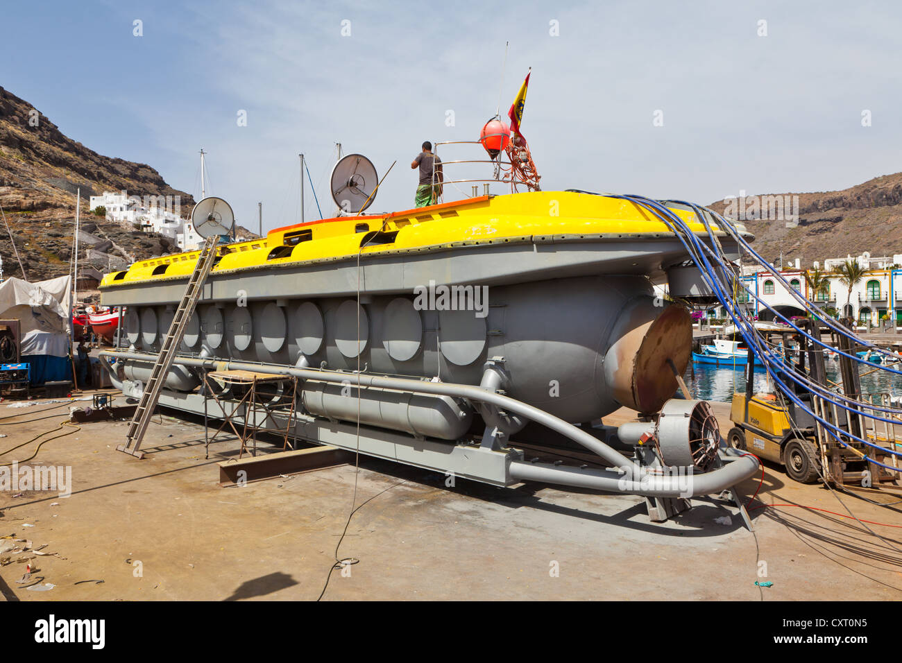 Submarine for tourists in the dry dock, Puerto de Mogan, Gran Canaria, Canary Islands, Spain, Europe, PublicGround - Stock Image