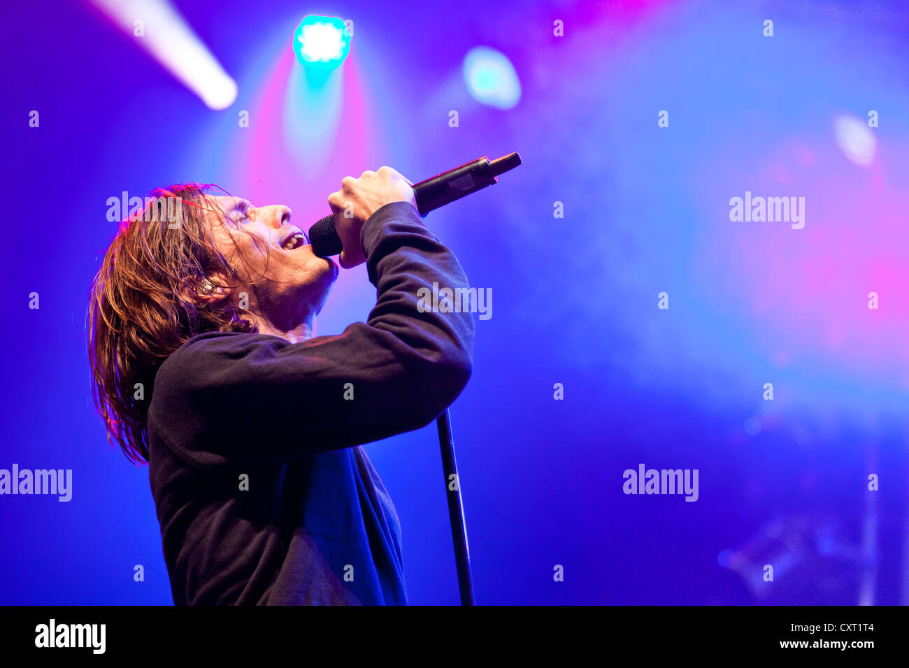 Adrian Sieber, lead singer of the Swiss pop band Lovebugs playing live at the Soundcheck Open Air in Sempach-Neuenkirch, - Stock Image