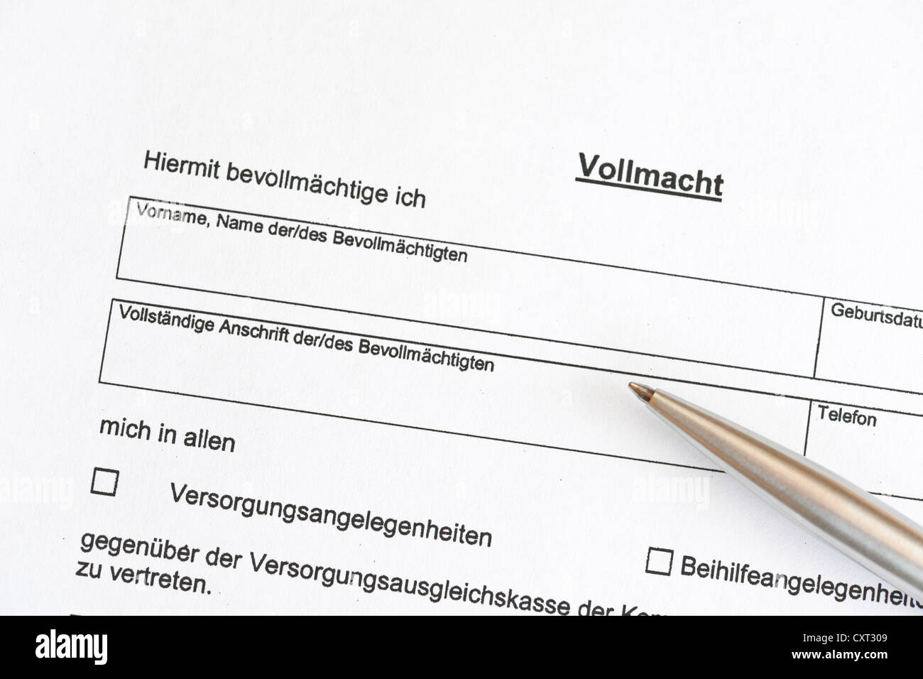 Power of attorney form, Germany, Europe Stock Photo ...
