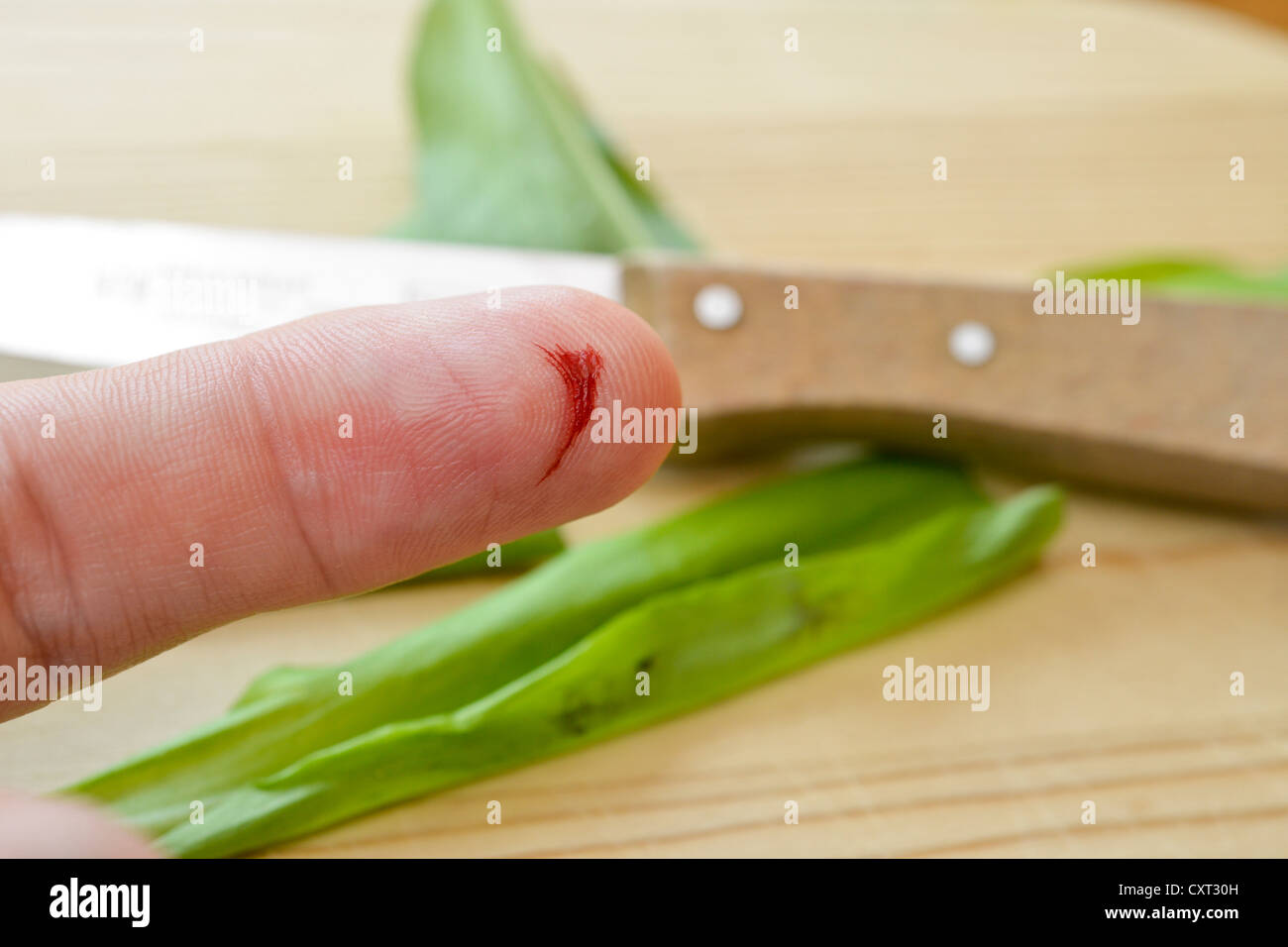 Bleeding index finger, laceration with a kitchen knife, household accident - Stock Image