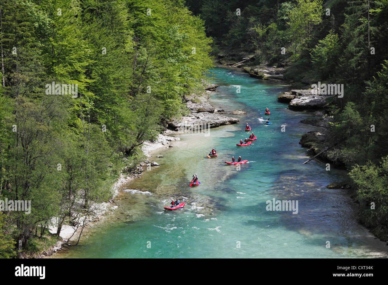 Rafting Rubber Rafts On The Salza River Near Palfau
