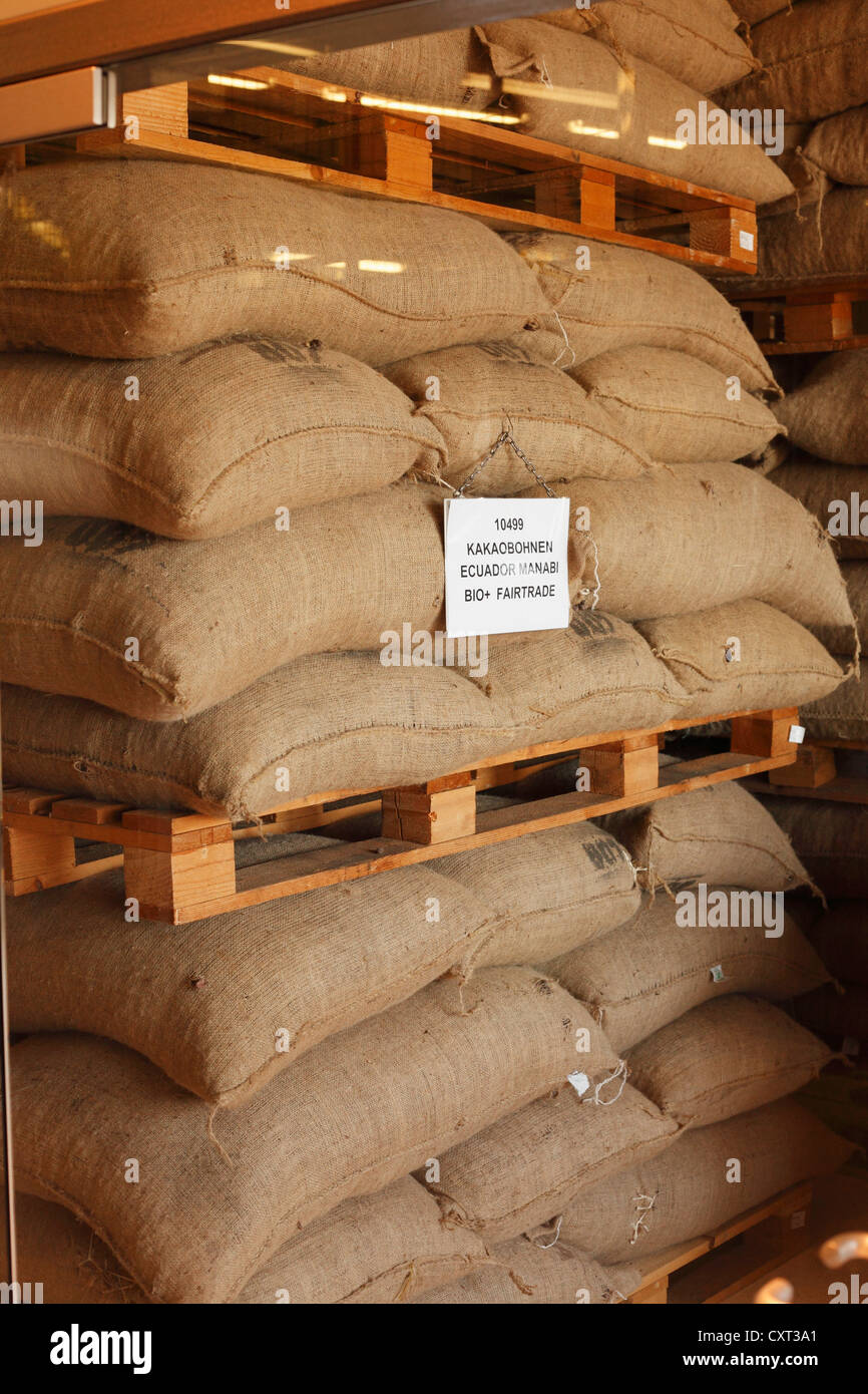 Sacks of cocoa beans, Zotter chocolate factory, Riegersburg, East Styria, Styria, Austria, Europe - Stock Image