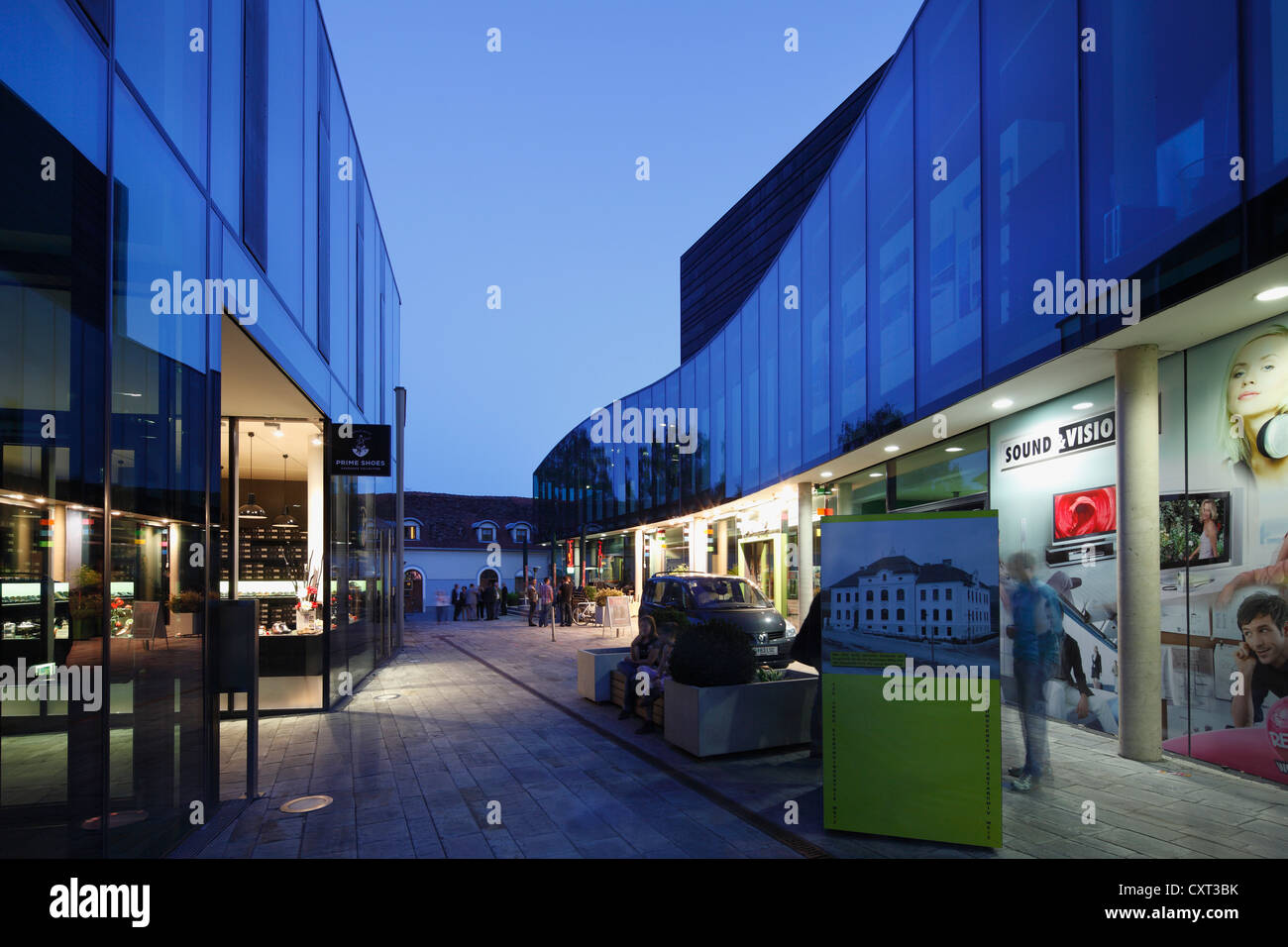 Kunsthaus Weiz, arts and entertainment venue, right, Eingasse lane, Weiz, East Styria, Styria, Austria, Europe, - Stock Image