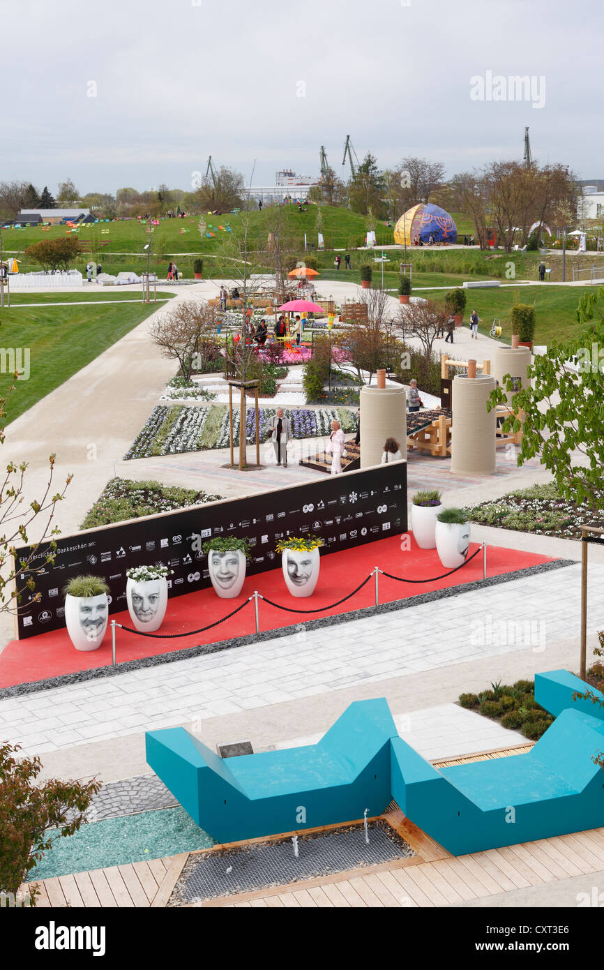 Themed gardens 'VIP Garden', at front, and 'Comfrey Garden', at back, Bavarian horticultural show - Stock Image