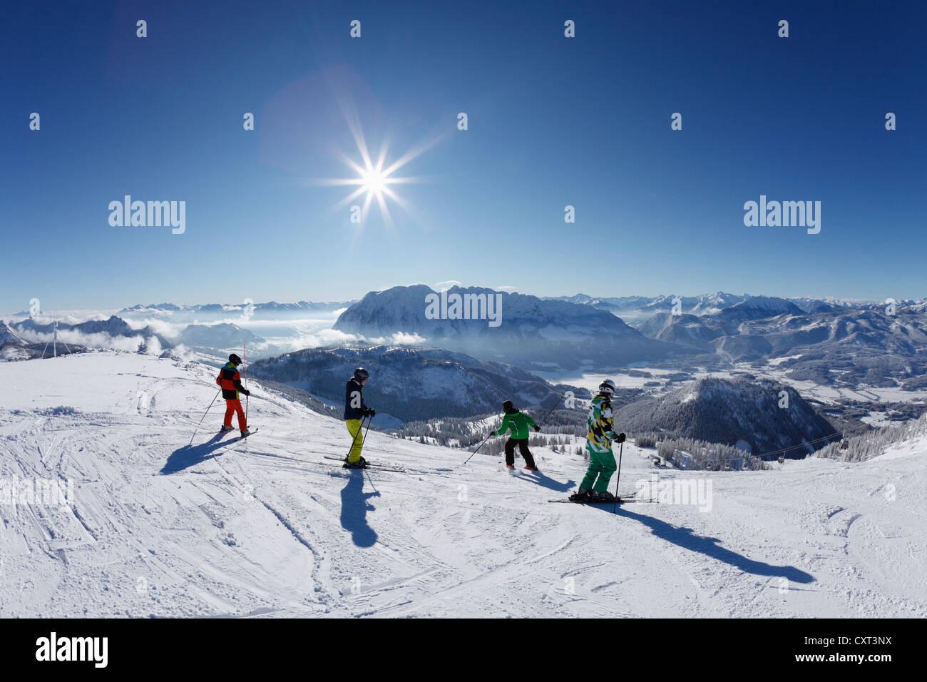 Tauplitz skiing area, Tauplitzalm alp, Grimming in the middle, Bad Mitterndorf, Ausseerland, Salzkammergut, Styria, - Stock Image