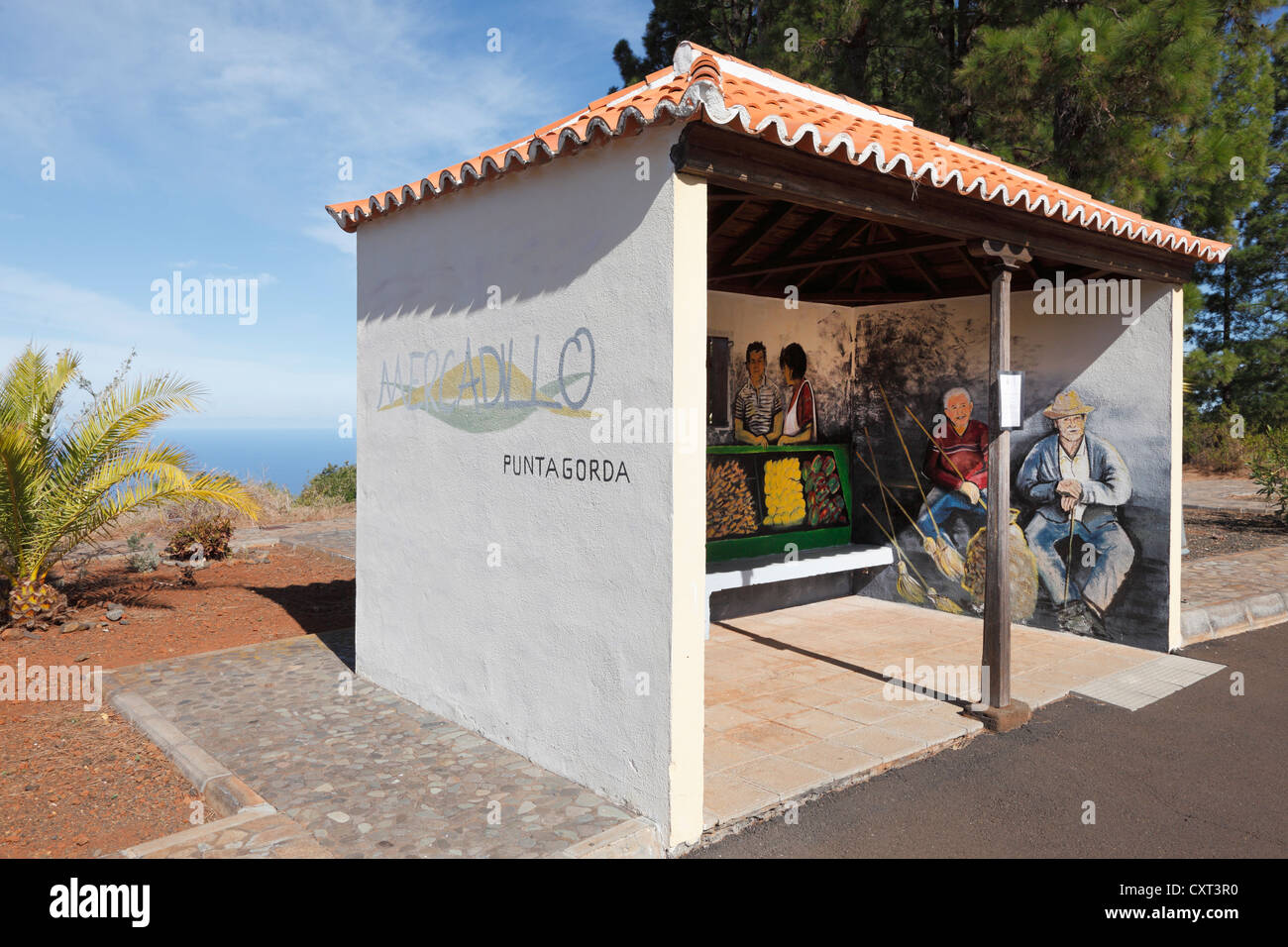 Painting by Goretti in a bus shelters, Punta Gorda, La Palma, Canary Islands, Spain, Europe, PublicGround - Stock Image