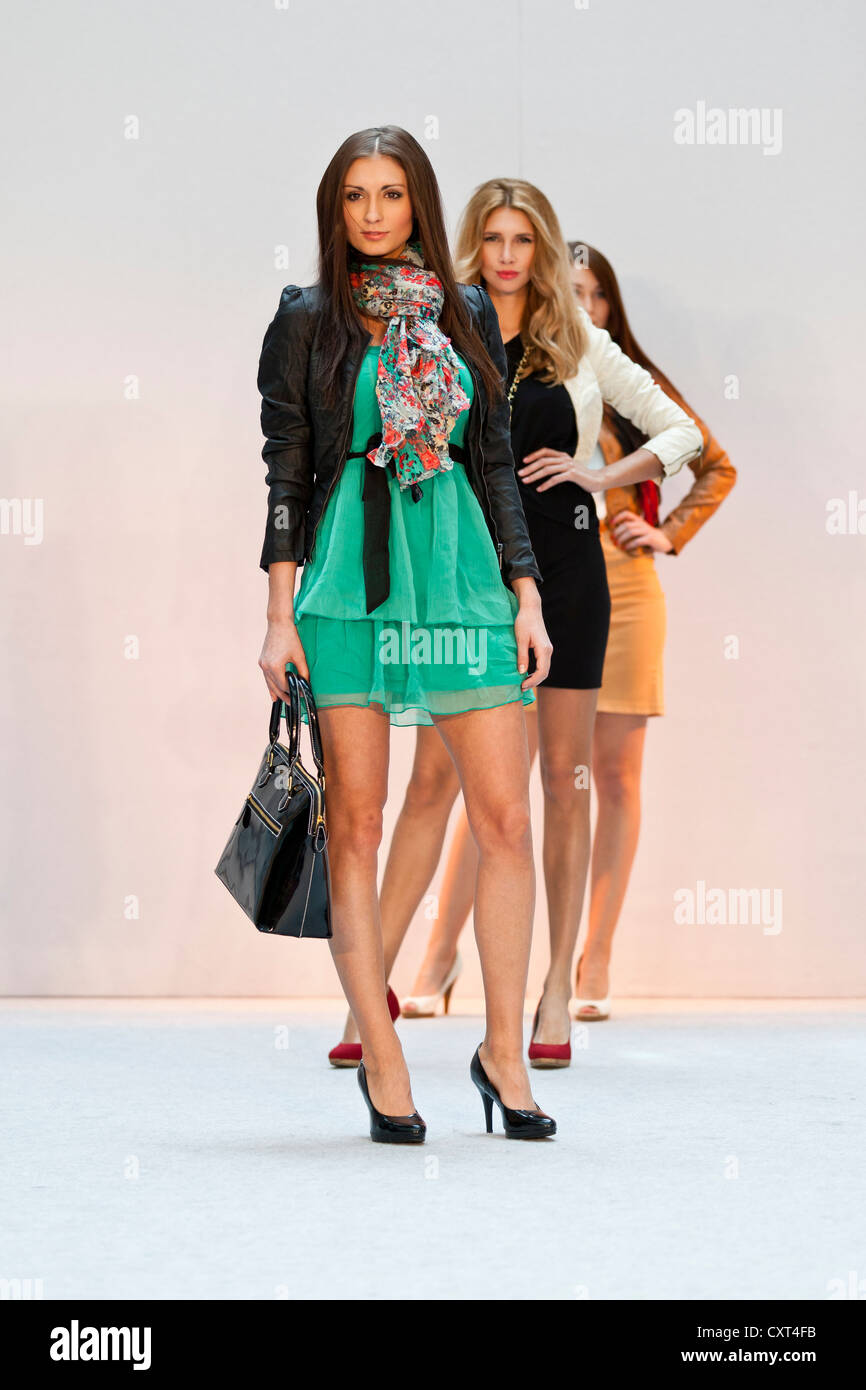 Young women, models in the Spring and Summer Fashion Show 2012 in Pilatusmarkt in Kriens, Lucerne, Switzerland, - Stock Image