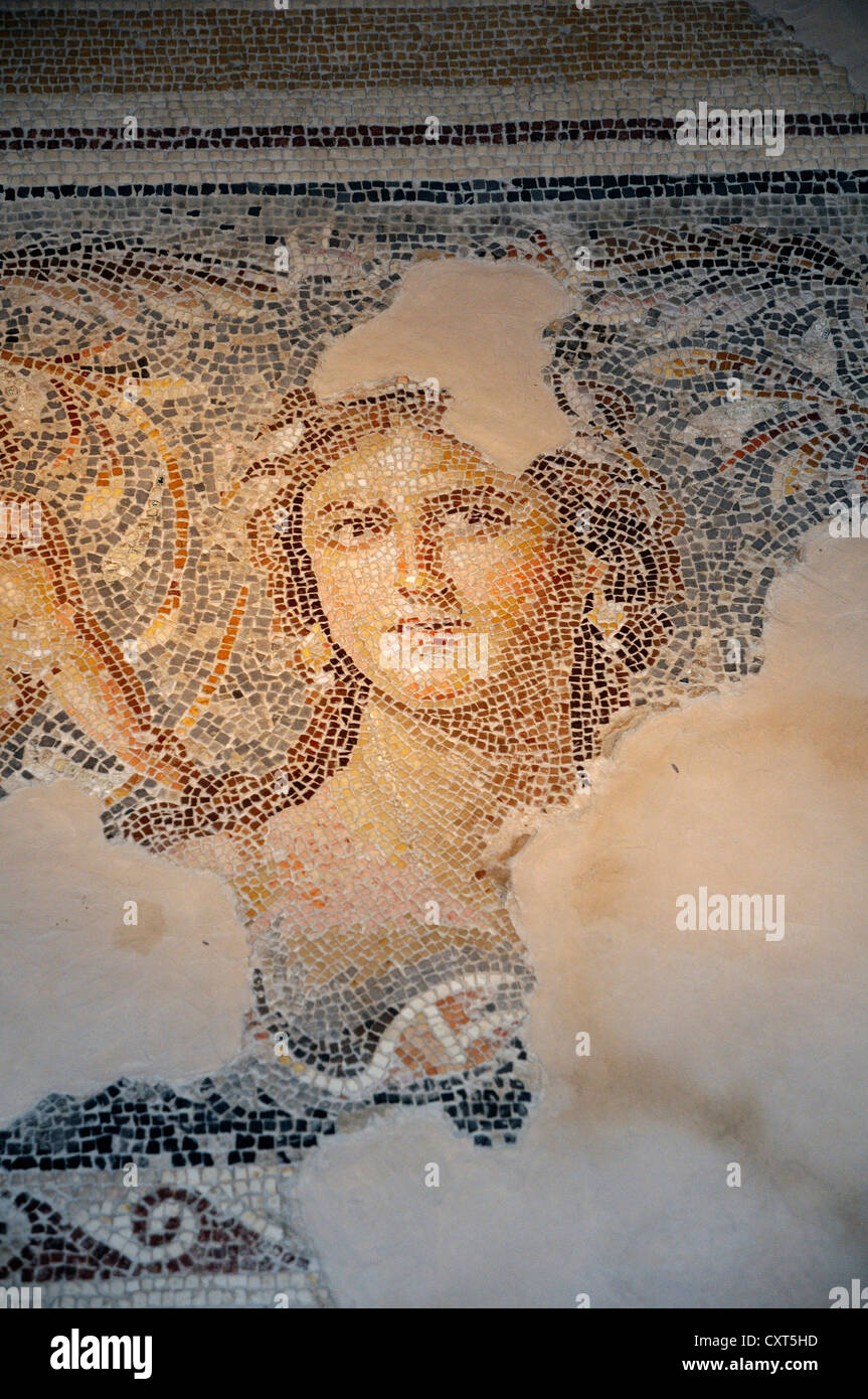 Mosaic, Mona Lisa of Galilee, Zippori National Park, Israel, Middle East - Stock Image