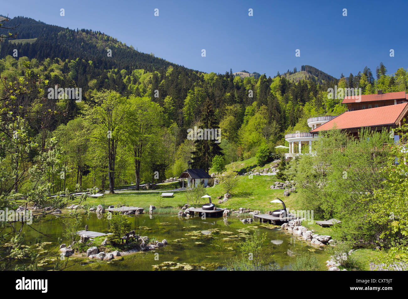 Hotel restaurant at Tatzelwurm lake, Bavarian Alps, Upper Bavaria, Bavaria, Germany, Europe - Stock Image