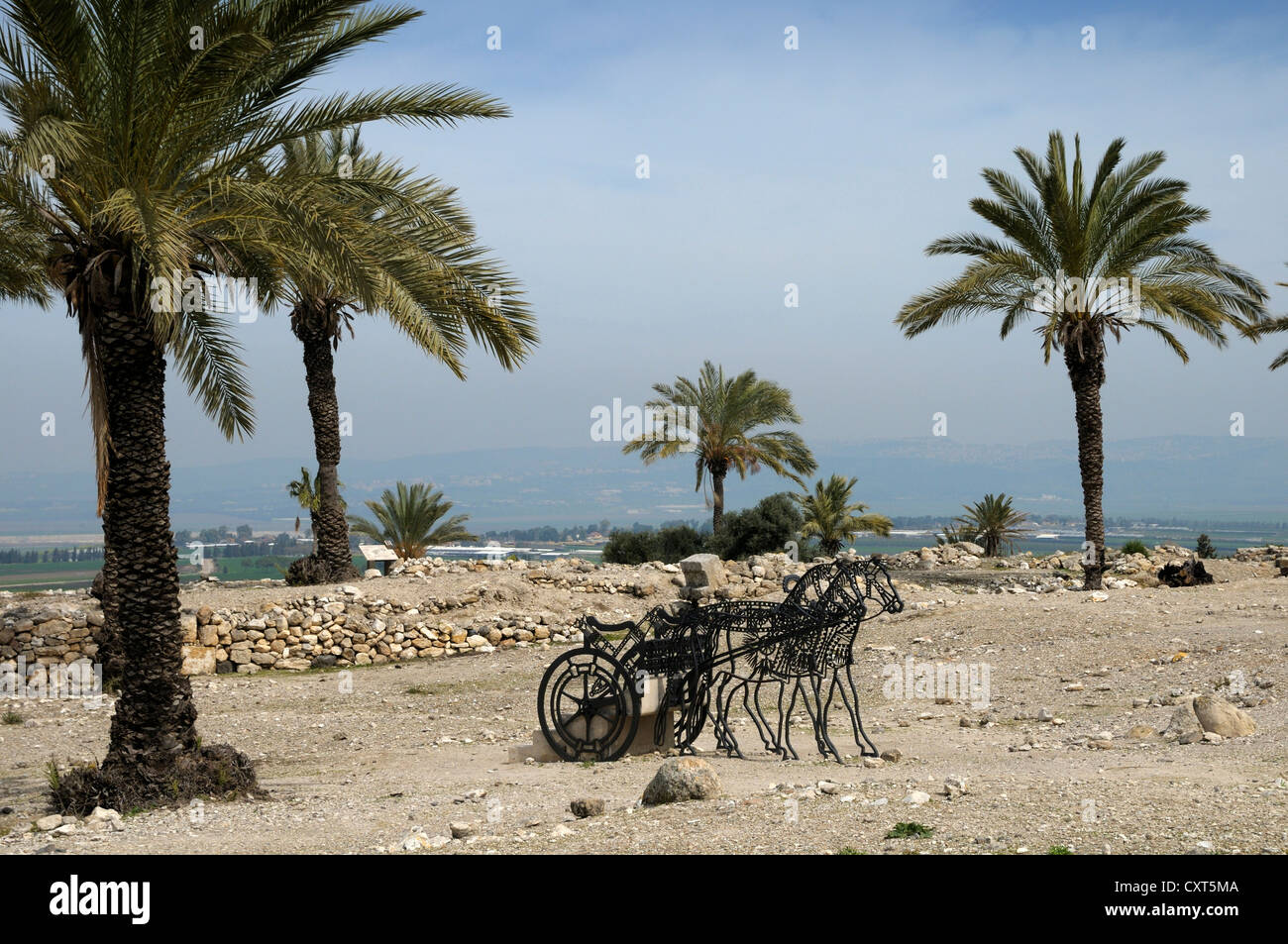 Stylised chariot, archaeological site of Megiddo, Israel, Middle East - Stock Image