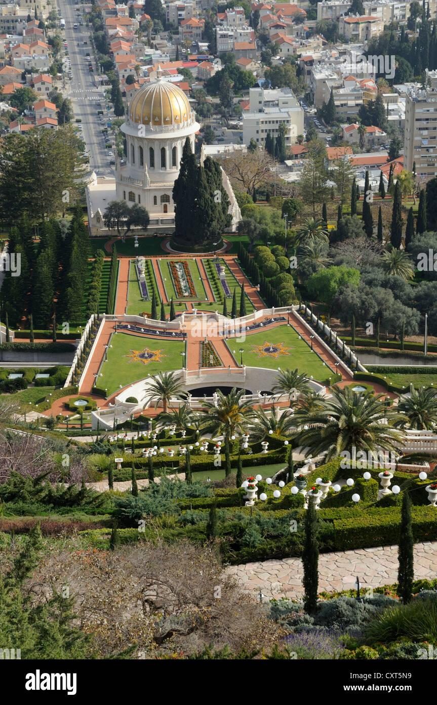Persian gardens and the Bahai Shrine, Haifa, Israel, Middle East, PublicGround - Stock Image