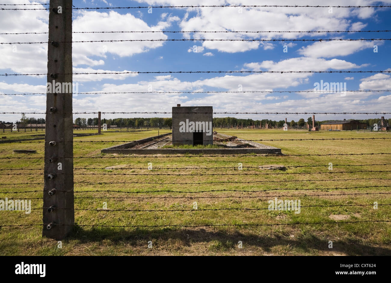 Barb wire electric fence inside the Auschwitz II-Birkenau former Nazi Concentration Camp, Auschwitz-Birkenau, Poland, - Stock Image