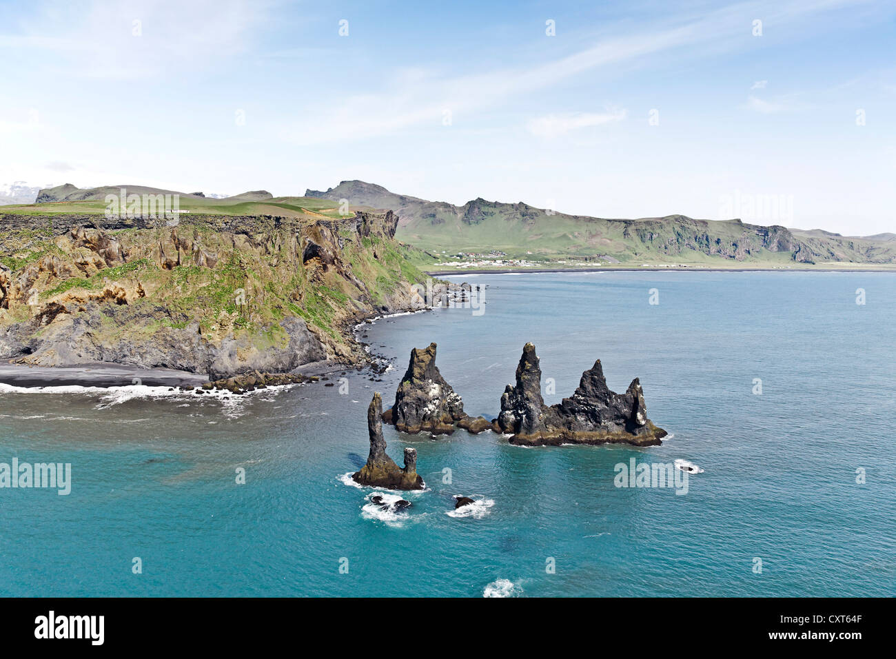 Aerial view, the three Skessudrangar rock spires, Skessudrangar, Landdrangar and Langhamrar off the southern coast - Stock Image
