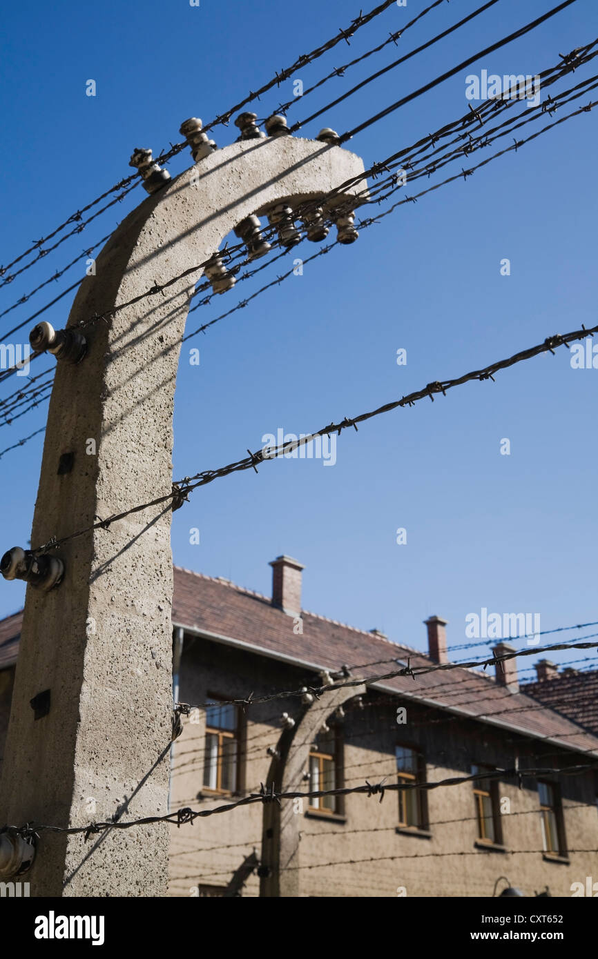 Barb Wire Electric Fence And Building Inside The Auschwitz I Former Wiring Nazi Concentration Camp Poland Europe