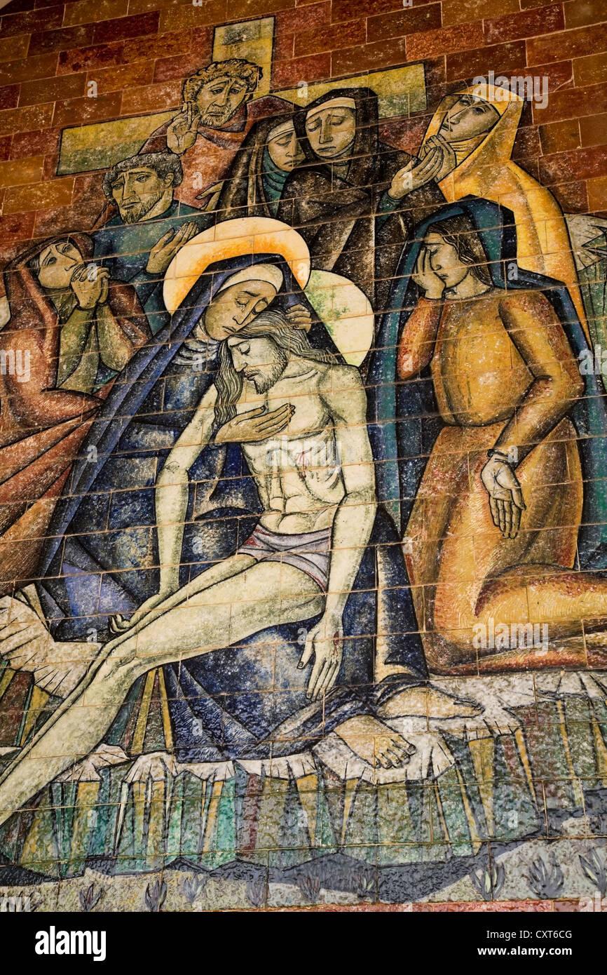 Religious scene painted on the ceramic wall tiles at the Fatima Basilica, Fatima, Portugal, Europe - Stock Image