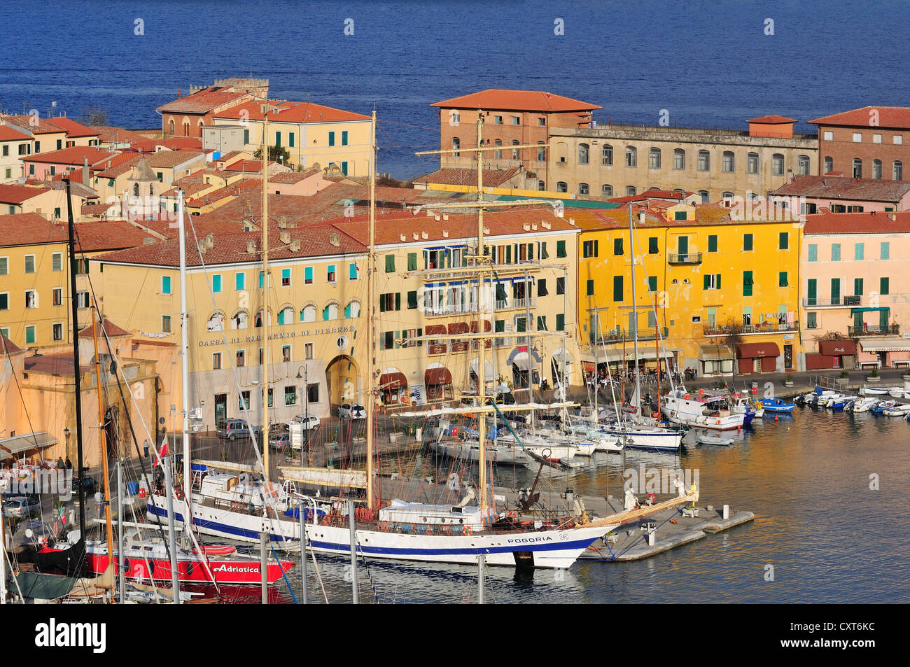 Polish sailing ship in the port of Portoferraio, Elba, Tuscany, Italy, Europe - Stock Image