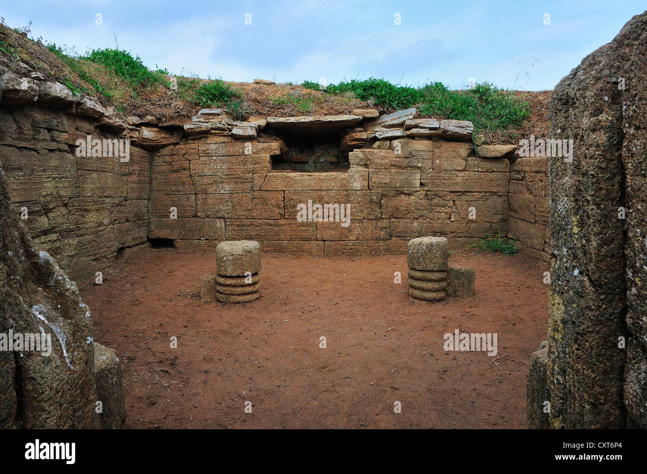 Remains of a burial mound, Etruscan Necropoleis of Populonia, Gulf of Baratti, Tuscany, Italy, Europe - Stock Image