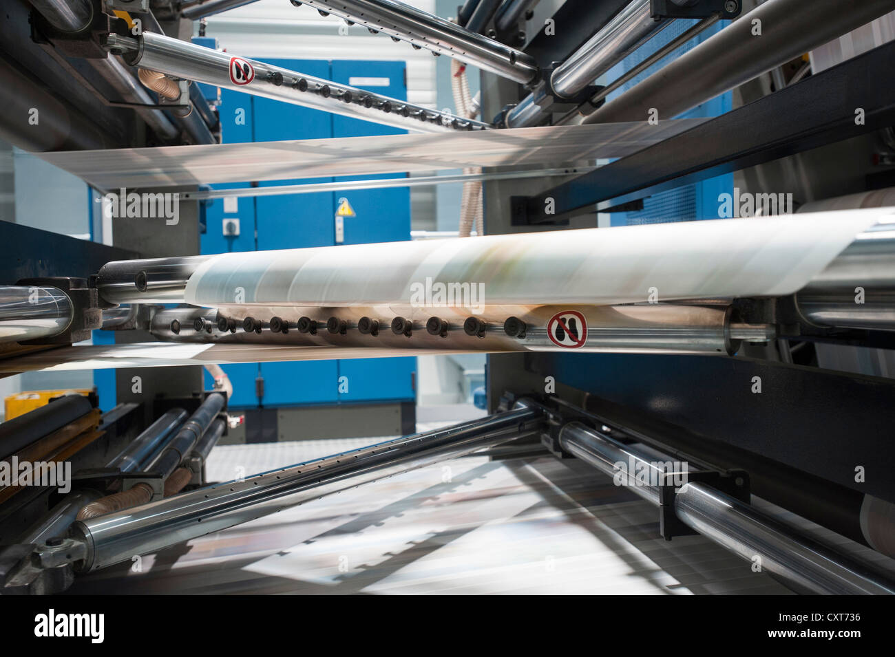 Printing press, paper turner, rotation, offset, media company 'Der neue Tag', 'Oberpfaelzischer Kurier' - Stock Image