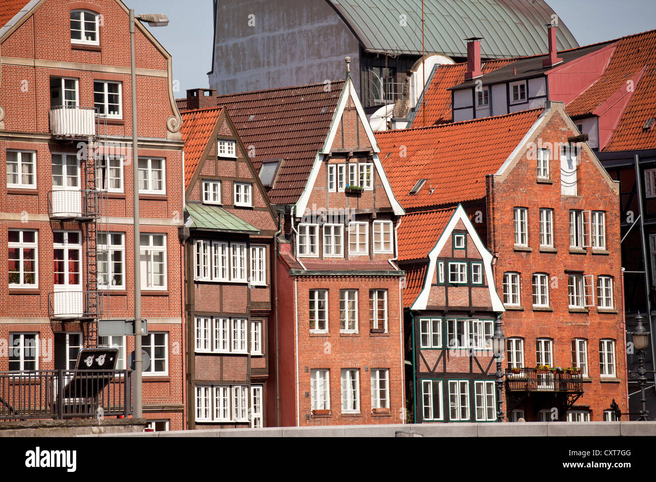 The last remaining row of historic town houses on Deichstrasse street, Free and Hanseatic City of Hamburg - Stock Image
