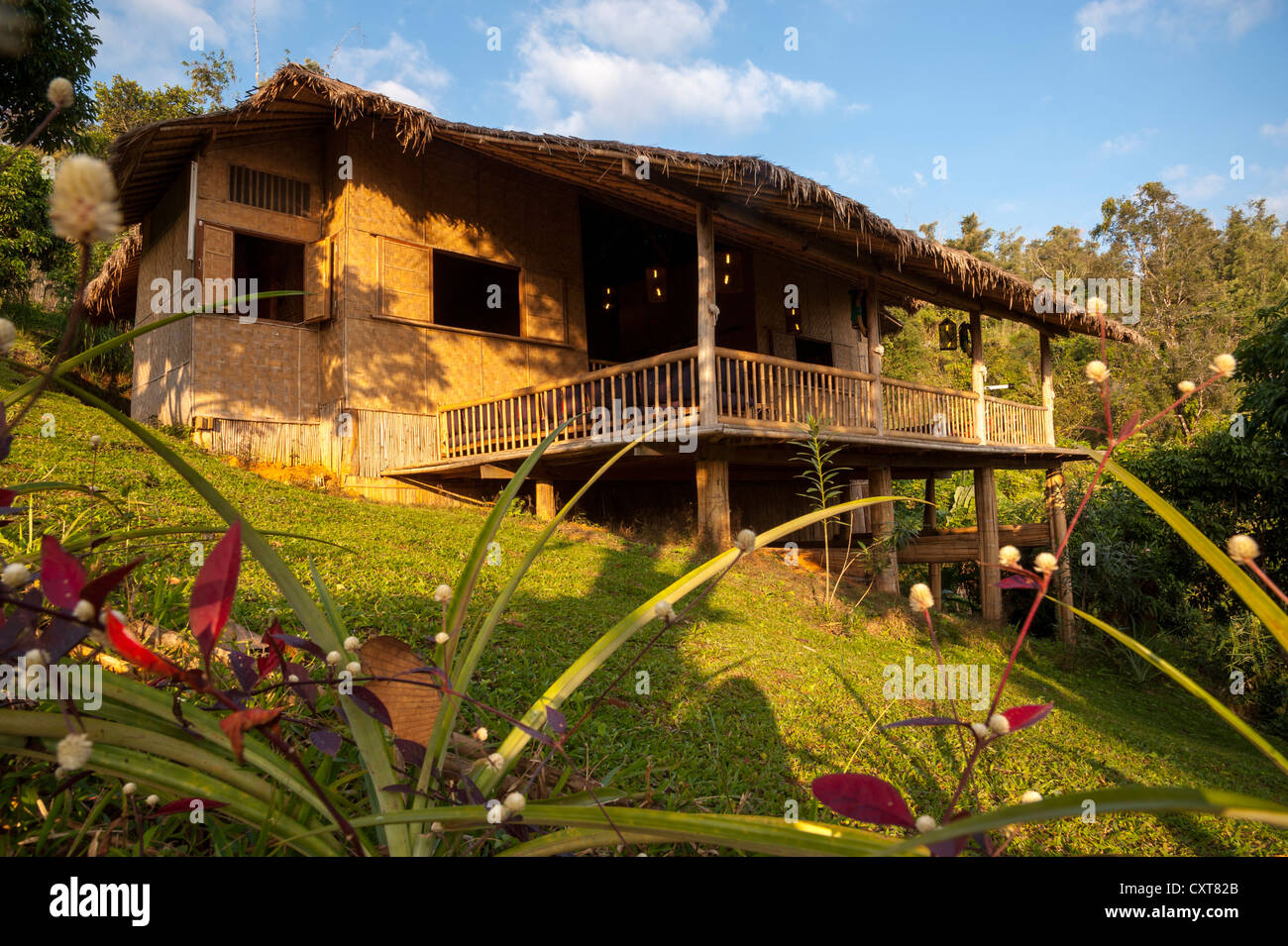 Bamboo hut with a porch or veranda, accommodation, Lanjia Lodge, Northern Thailand, Thailand, Asia - Stock Image