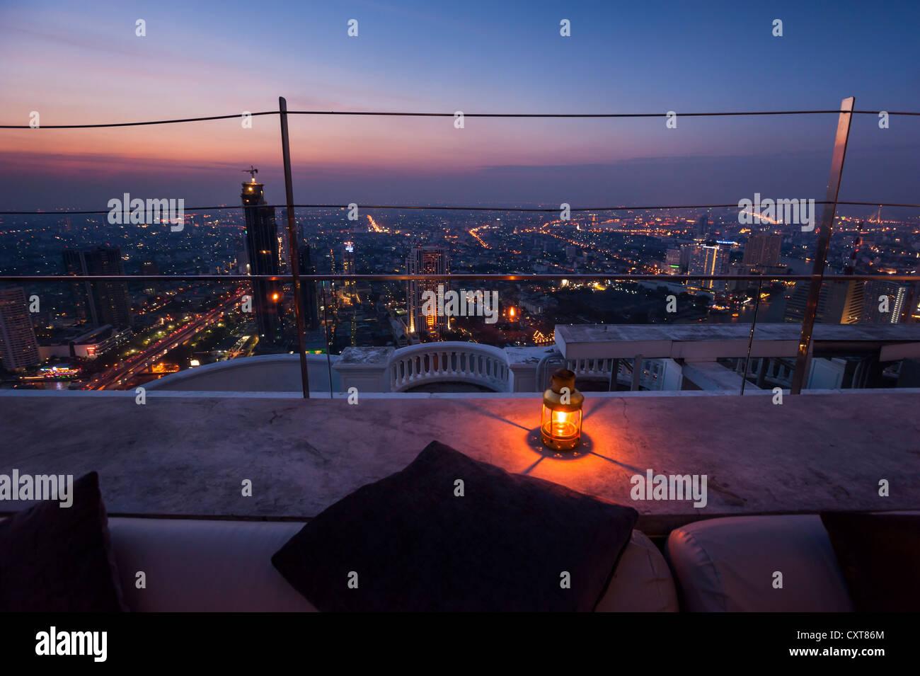 View of Bangkok at dusk, Sirocco Sky Bar, Bangkok, Thailand, Asia - Stock Image