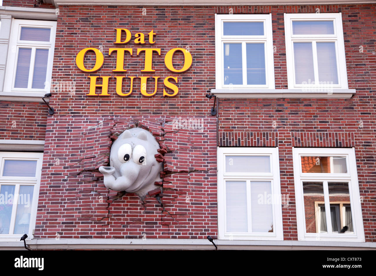 Dat Otto Huus with Ottifant, home of the East Frisian comedian Otto Waalkes in Emden with elephant sculpture designed - Stock Image