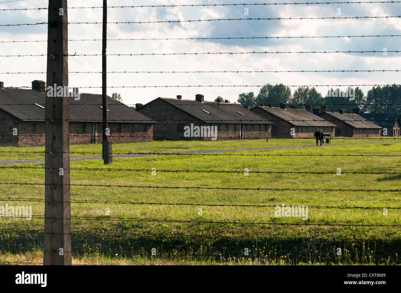 Barbed wire fence and barracks, Auschwitz-Birkenau concentration camp, Auschwitz, Lesser Poland, Poland, Europe - Stock Image