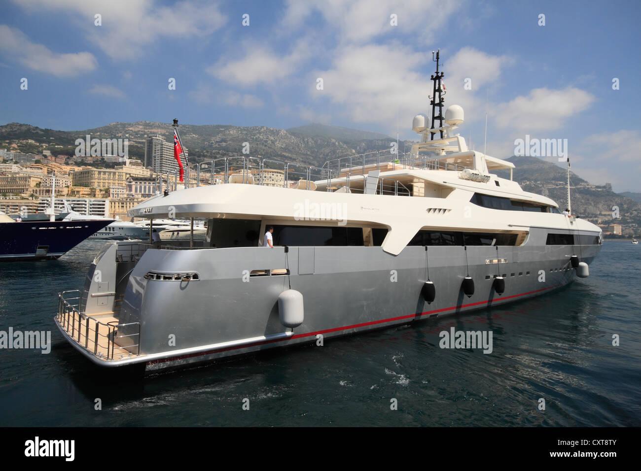 Motor yacht Vicky leaving the Port Hercule in Monaco, shipyard Baglietto, length 58, 40 meters, built in 2008 - Stock Image