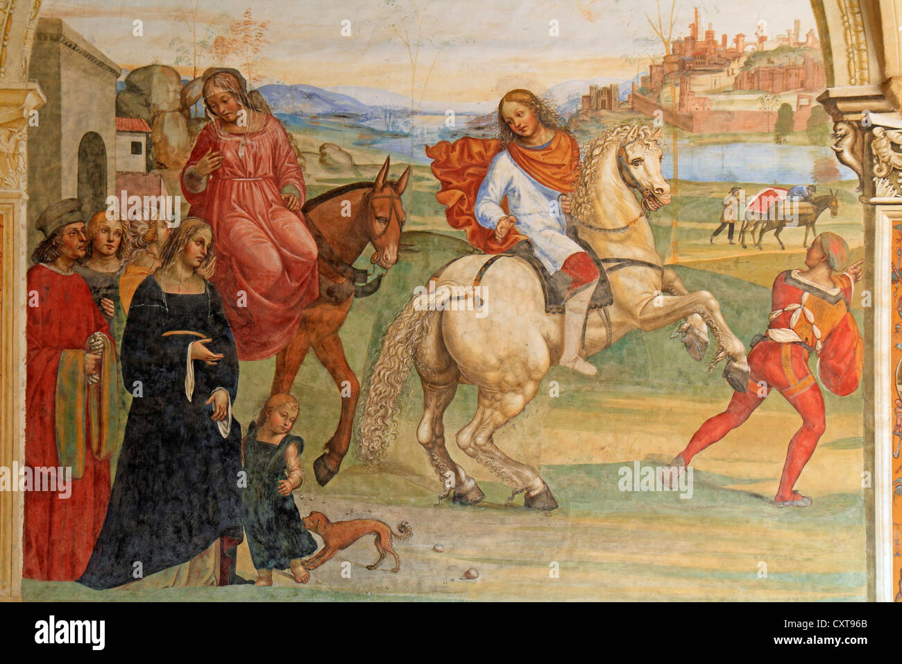 Fresco, life of St. Benedict, fresco by Sodoma, picture 1: Benedict on a white horse, leaving his parental home - Stock Image