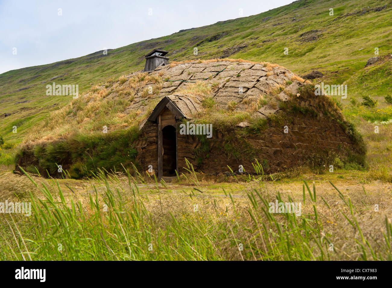 Museum, longhouse, Leifur Eiríksson, discoverer of America, Eiríksstaðir, Eiriksstadir, Haukadalur valley, Vesturland Stock Photo