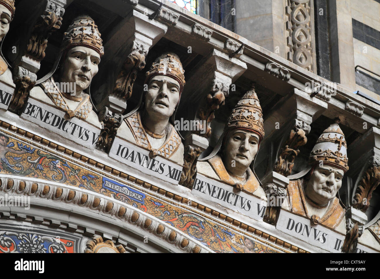 Busts of popes Benedict V., John XIII., Benedict VI., Siena Cathedral or Cathedral of Santa Maria Assunta, Siena, Stock Photo