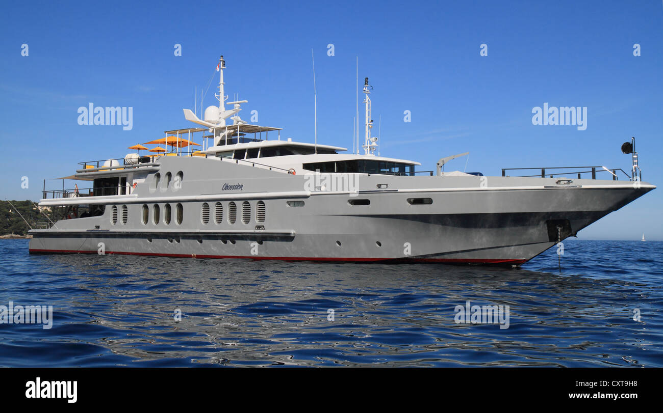 Motor yacht, Obsession, built by Oceanfast, length 55 metres, built in 1991, anchored off Monaco, Cote d'Azur, - Stock Image