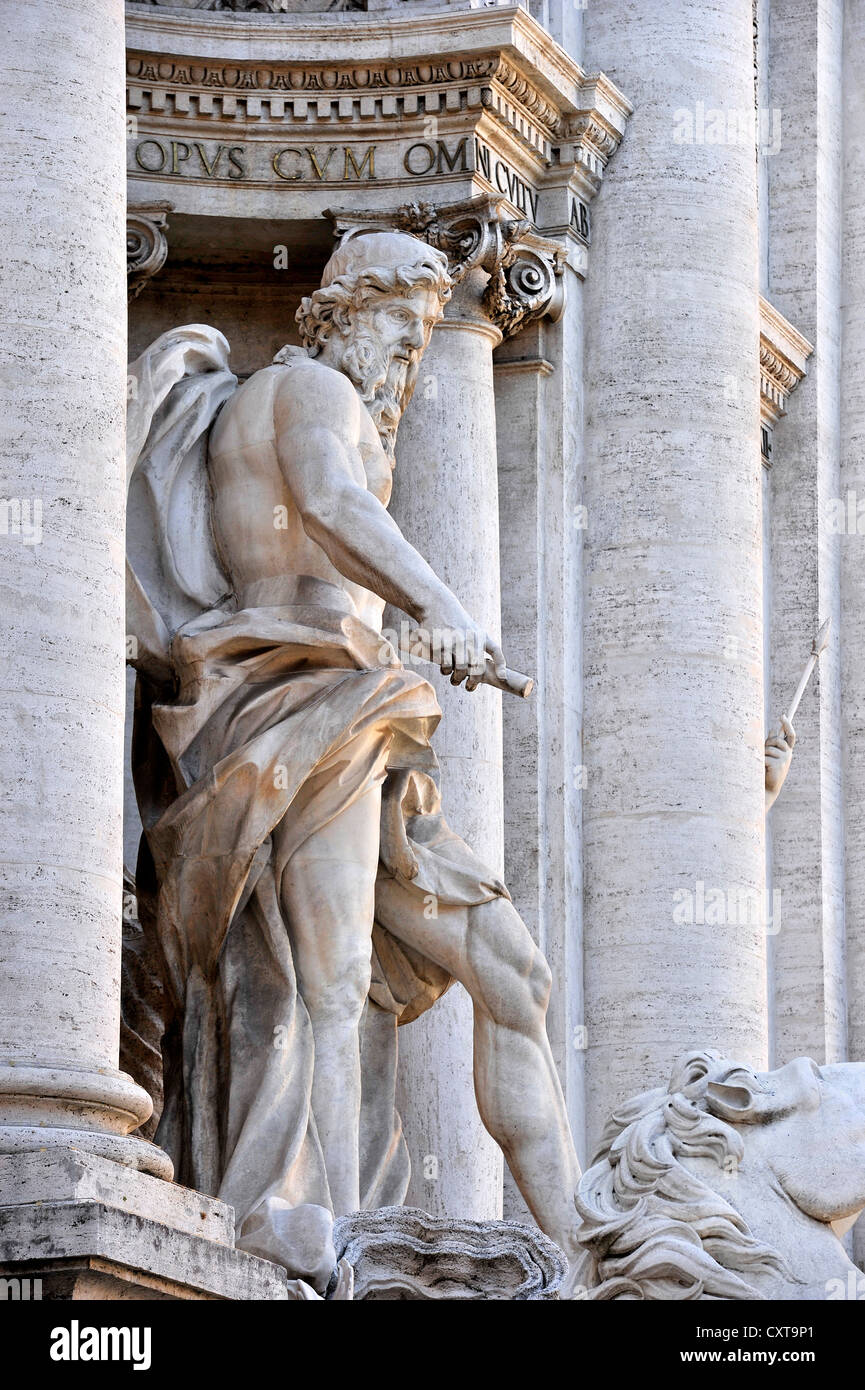 Sea god Oceanus on the Fontana di Trevi fountain, Trevi Fountain, Rome, Lazio region, Italy, Europe - Stock Image