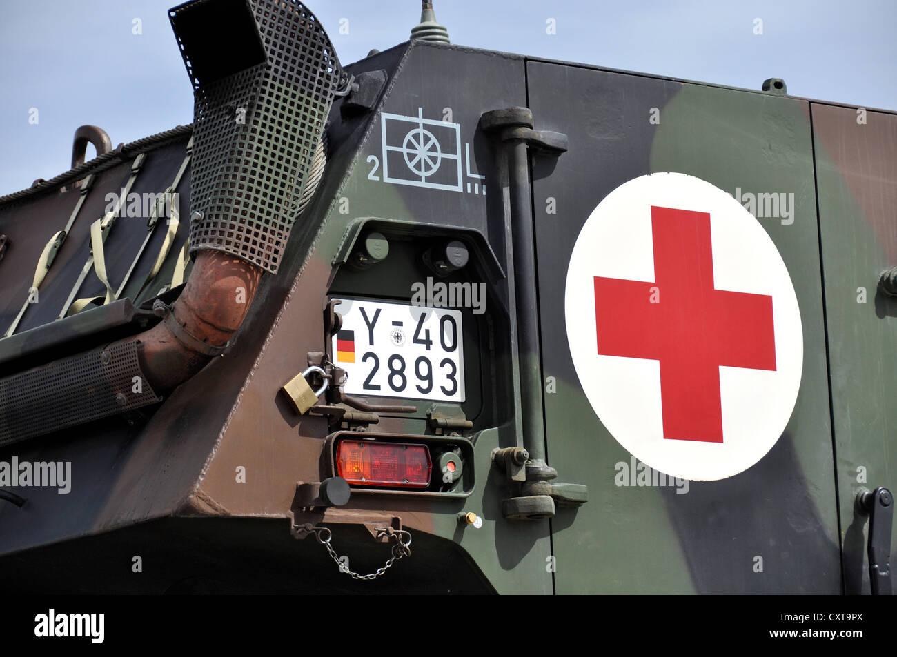 Emergency vehicle of the German armed forces, German Red Cross, RETTmobil, trade fair in Fulda, Hesse - Stock Image