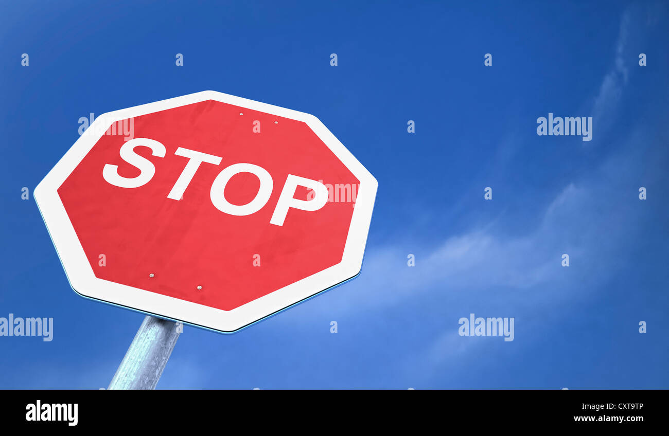 Stop sign, illustration, 3D visualization - Stock Image