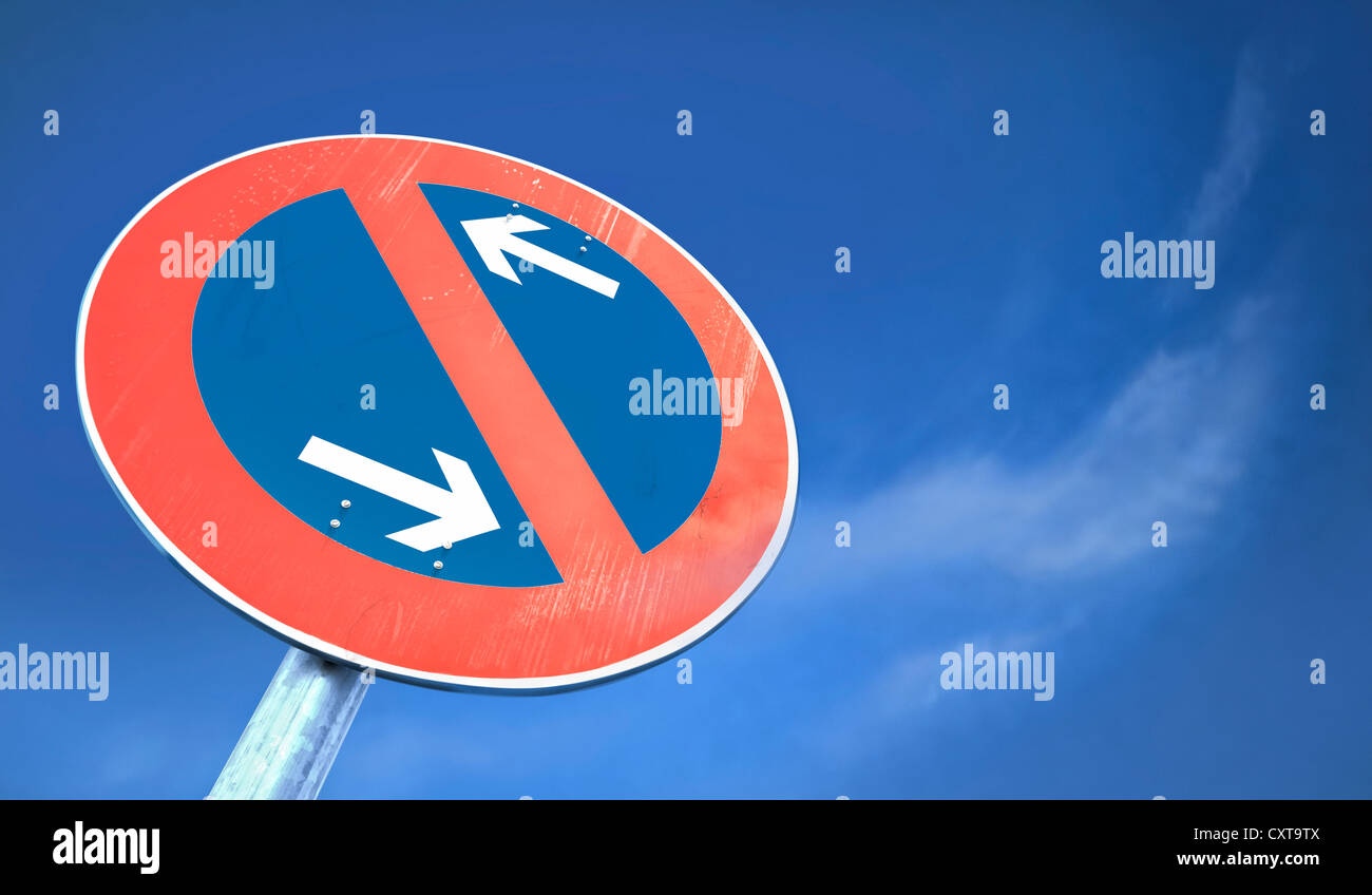 No Parking sign, illustration, 3D visualization - Stock Image