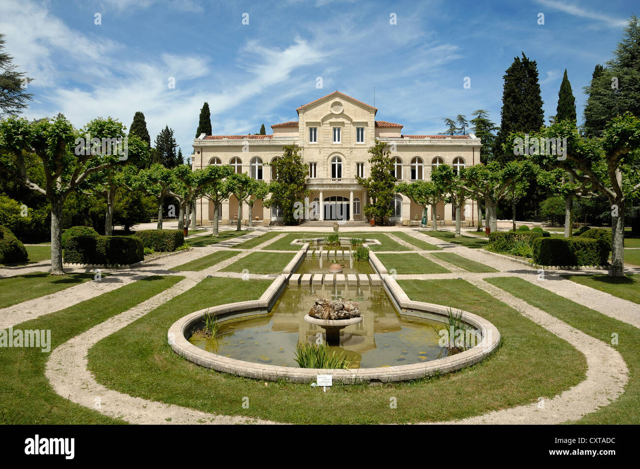 Bouillons Château and Formal French Garden Source Perrier Vergèze nr Nimes Provence France - Stock Image