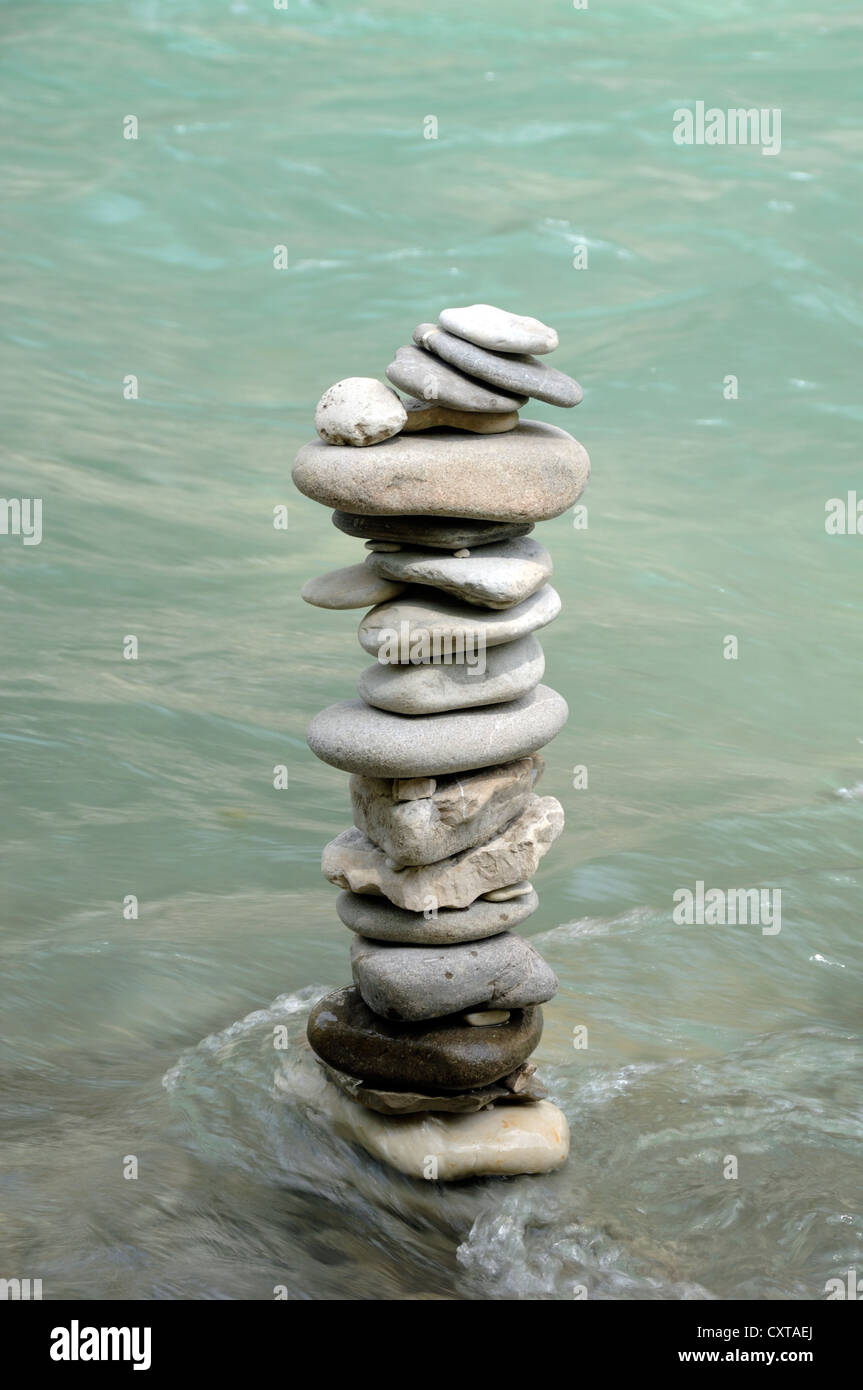 Pile or Column of Pebbles in the Verdon River Provence France - Stock Image