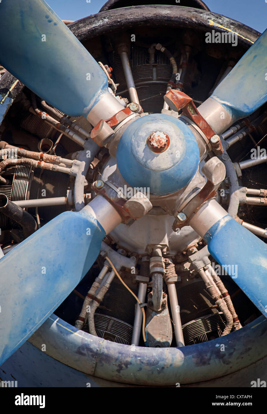 old piston engine and propeller aircraft - Stock Image