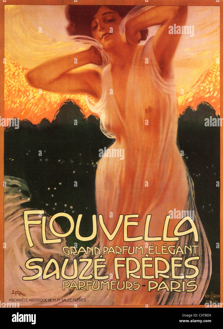 SAUZE FRERES Poster for 1910 perfume Flouvella produced by the Paris brothers whose company lasted until 1953. - Stock Image