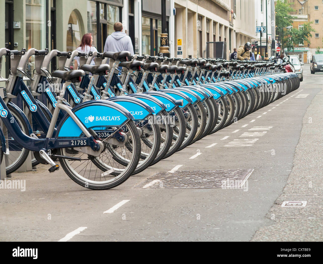 Boris bikes, cycles for hire, London, England - Stock Image
