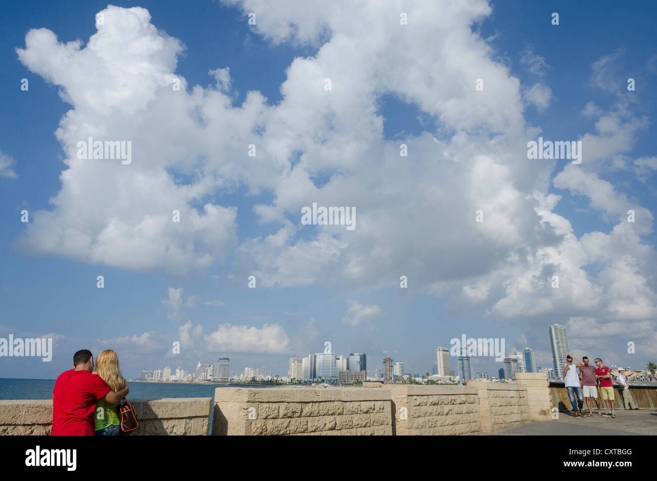 Young couple watching Tel aviv skyline and sea from Jaffa Old City. Israel. - Stock Image