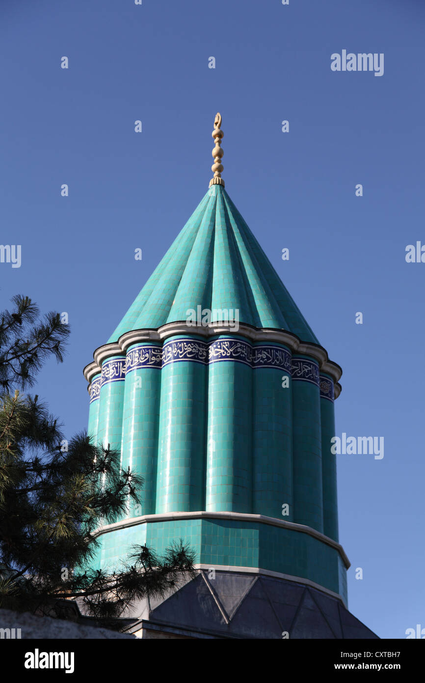 Mevlana Museum with turquoise tiled roof in Konya central Turkey - Stock Image