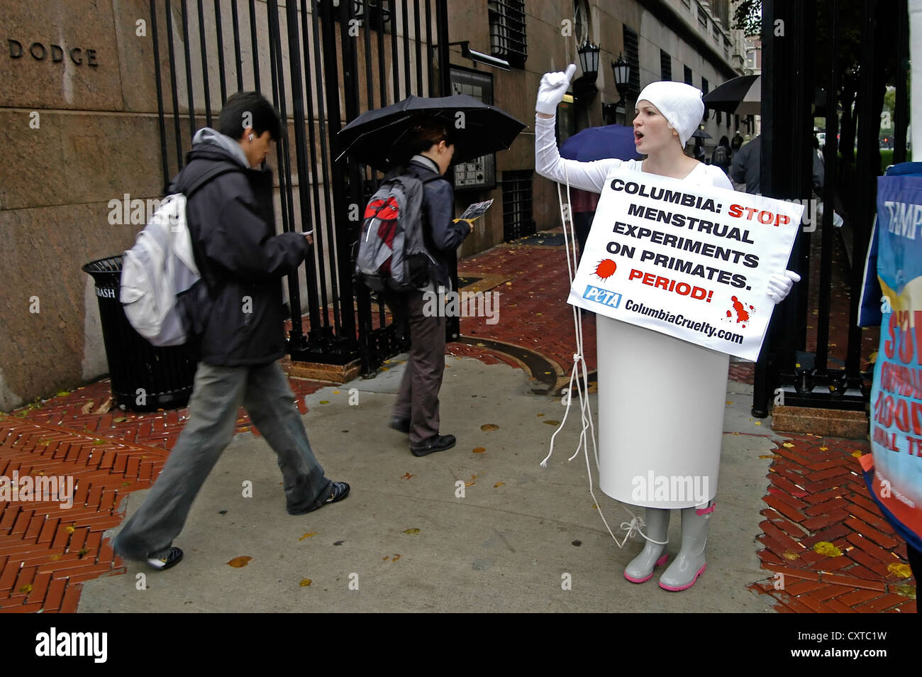 Woman in tampon costume protesting for PETA (People For The Ethical Treatment Of Animals) at Columbia University. - Stock Image