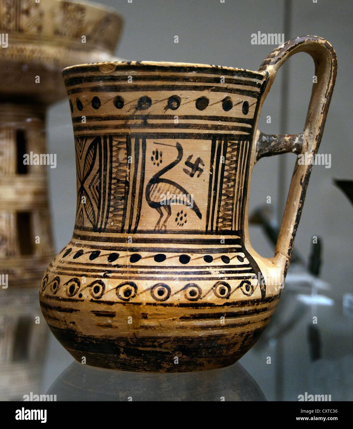 Terracotta Tankard  Greek Attic Geometric 8th Century BC mug Greece - Stock Image