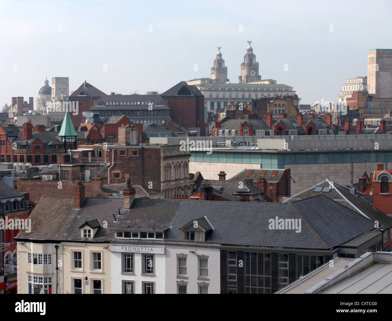 liverpool city centre skyline rooftops merseyside uk united kingdom - Stock Image