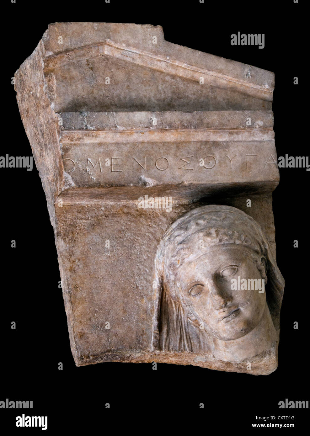 Fragment of a marble grave stele of a woman Greek Attic 400-390 BC daughter of Omenes - Stock Image