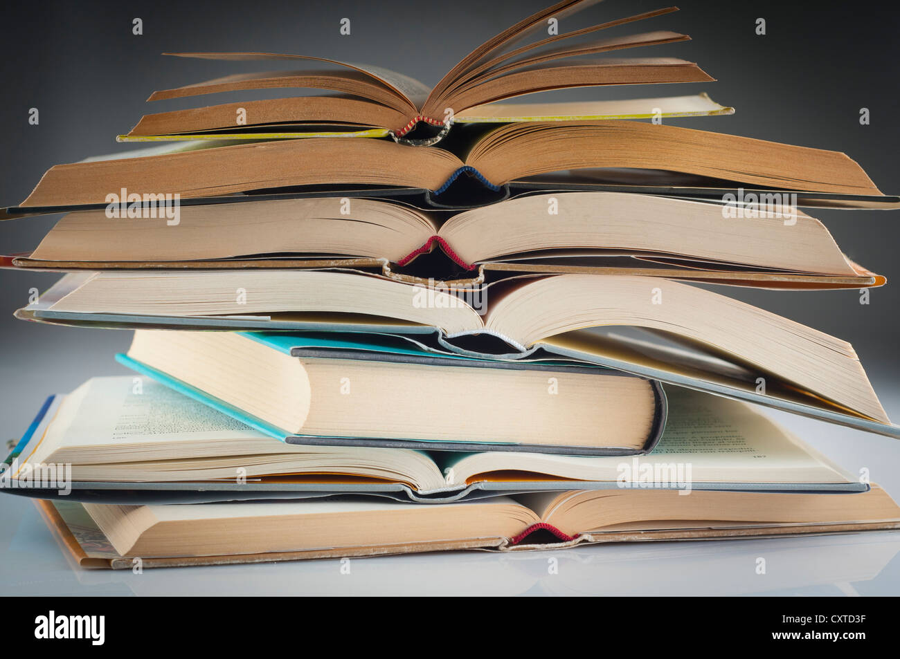 stacked books group to study and read - Stock Image
