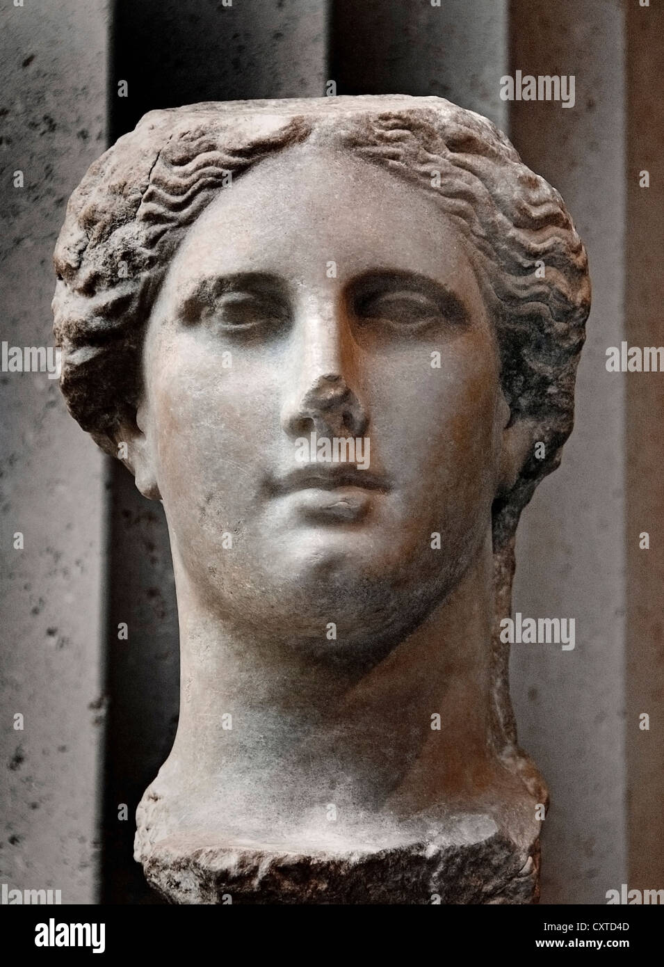 Marble head of  Ptolemaic Queen Greek Hellenistic Greece 270 - 250 BC - Stock Image