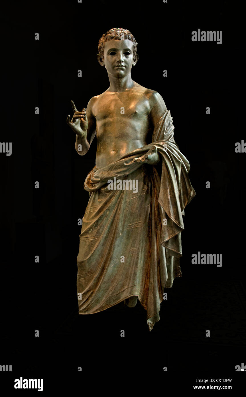 Bronze life size Statue of an aristocratic boy prince in the family of Emperor Augustus 27 BC - 14 AD from Rhodes - Stock Image